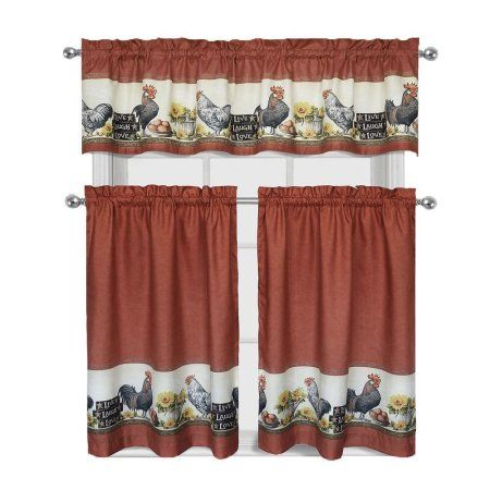 Home In 2019 | Kitchen Chickens | Kitchen Curtain Sets Regarding Top Of The Morning Printed Tailored Cottage Curtain Tier Sets (View 6 of 25)