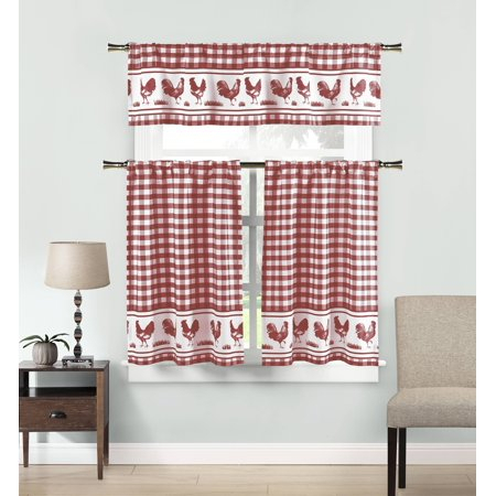 Featured Image of Kitchen Burgundy/white Curtain Sets