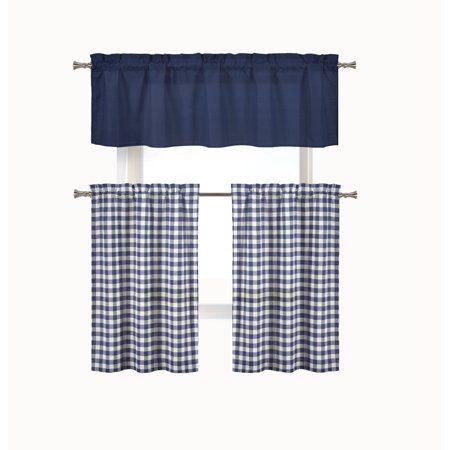 Home | Jake's Place In 2019 | Kitchen Curtain Sets, Walmart Pertaining To Classic Navy Cotton Blend Buffalo Check Kitchen Curtain Sets (View 6 of 25)