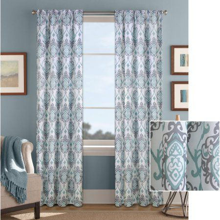 Home   Panel Curtains, Damask Curtains, Curtains Regarding Pastel Damask Printed Room Darkening Kitchen Tiers (View 6 of 25)