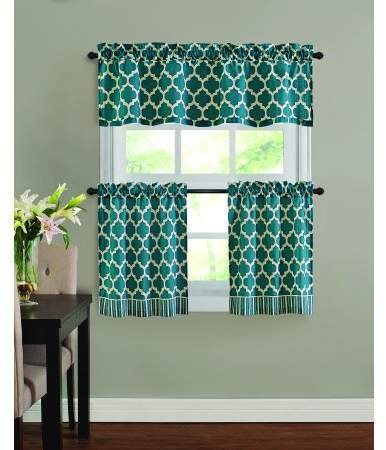 Home | Products | Kitchen Window Curtains, Tier Curtains In Geometric Print Microfiber 3 Piece Kitchen Curtain Valance And Tiers Sets (View 6 of 25)