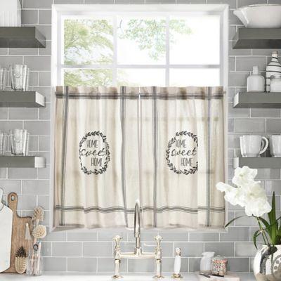 "Home Sweet Home 24"" Kitchen Window Curtain Tier Pair In Regarding Farmhouse Stripe Kitchen Tier Pairs (Image 17 of 25)"