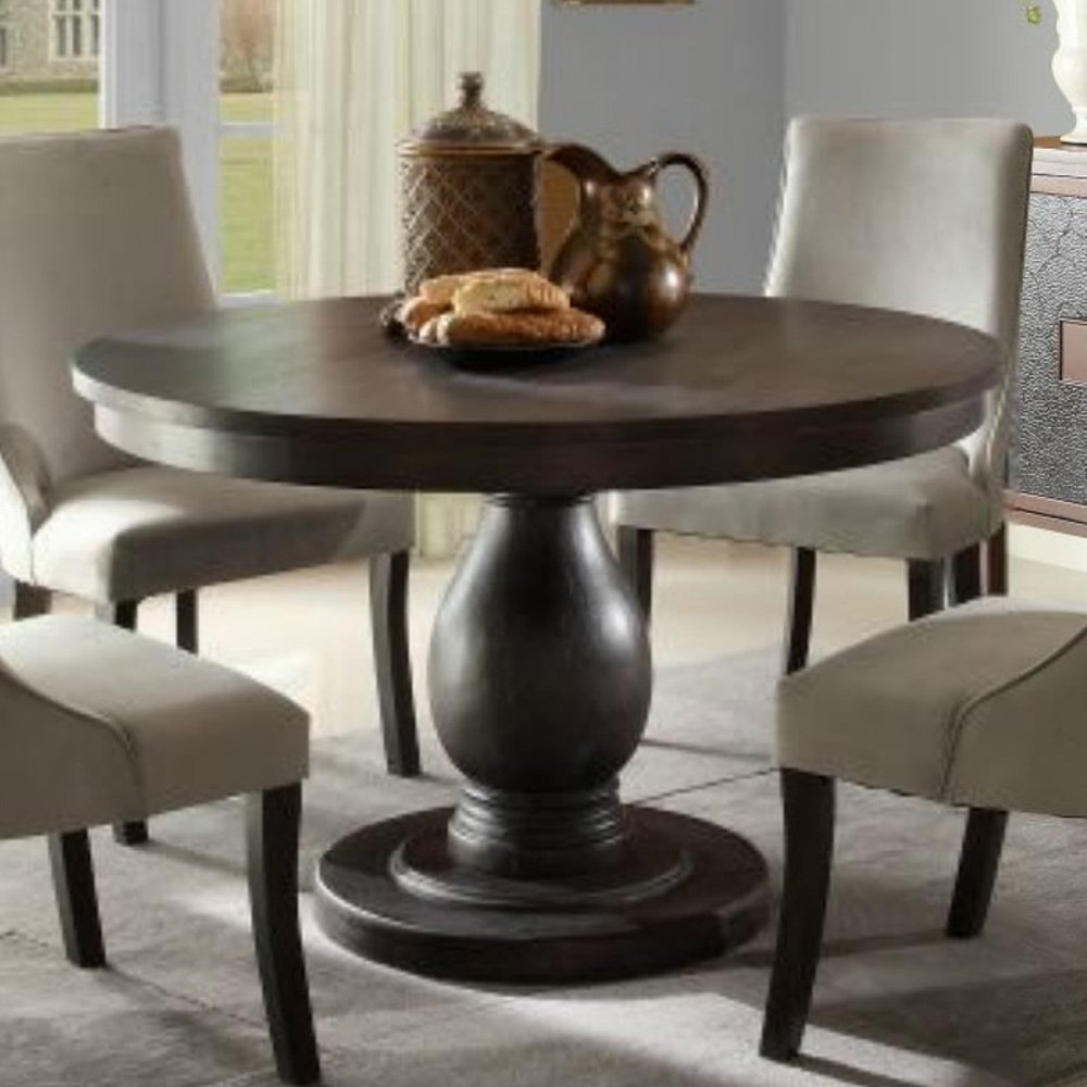 Homelegance Dandelion Round Pedestal Dining Table In Distressed Taupe –  Walmart Inside Best And Newest Rae Round Pedestal Dining Tables (Image 8 of 25)