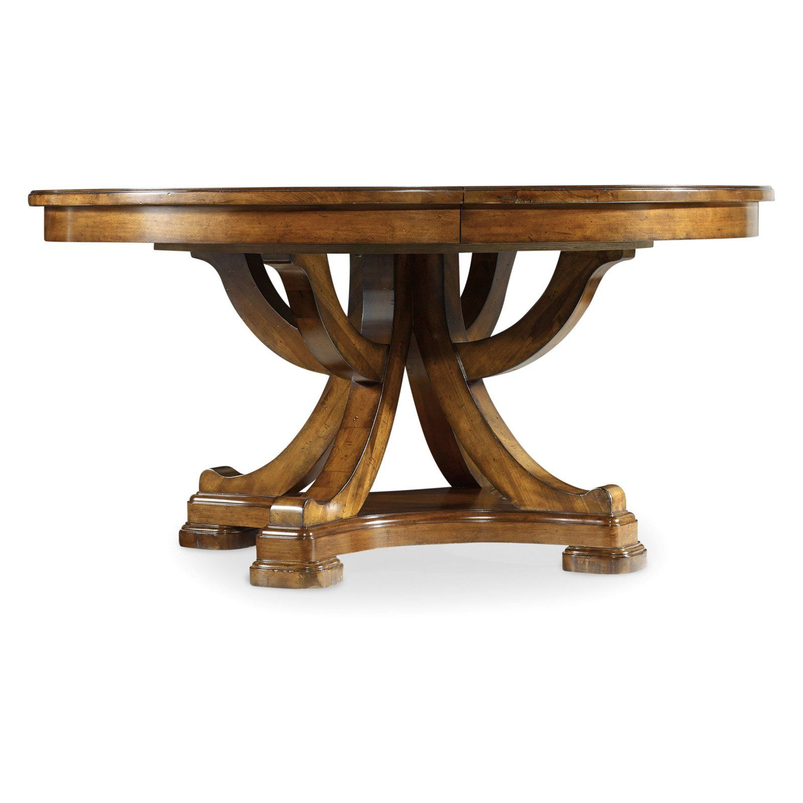 Hooker Furniture Tynecastle Round Pedestal Extension Dining Throughout Most Recently Released Rustic Mahogany Benchwright Pedestal Extending Dining Tables (View 12 of 25)
