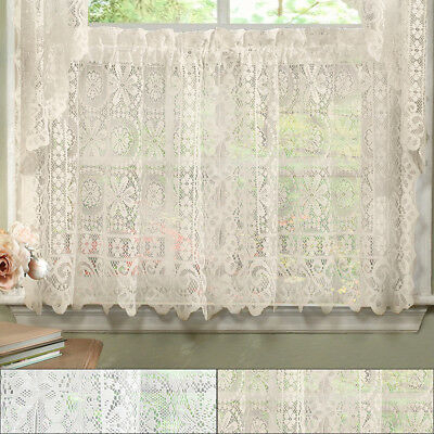 Hopewell Heavy Floral Lace Kitchen Window Curtain 36 X 58 Intended For Oakwood Linen Style Decorative Window Curtain Tier Sets (View 15 of 25)