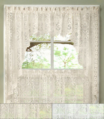 Hopewell Heavy Floral Lace Kitchen Window Curtain Swag Pair Inside Elegant White Priscilla Lace Kitchen Curtain Pieces (View 25 of 25)