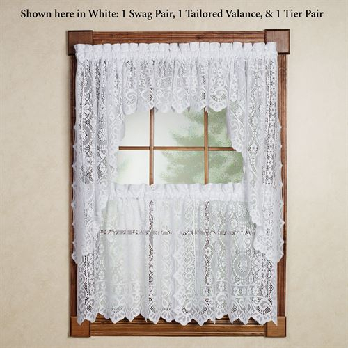 Hopewell Lace Tier Window Treatment Regarding Sheer Lace Elongated Kitchen Curtain Tier Pairs (View 18 of 25)