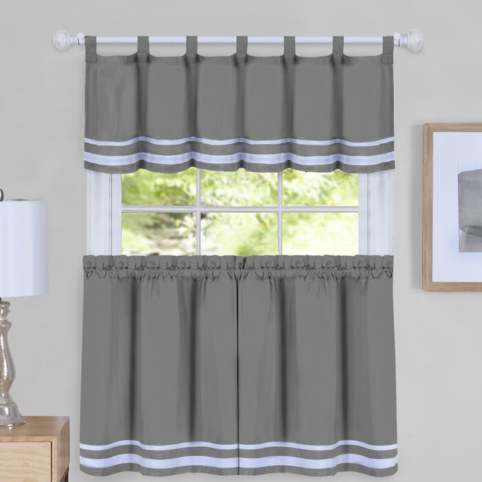 Hornell Window Curtain Tier Pair And Valance Set For Bermuda Ruffle Kitchen Curtain Tier Sets (Image 10 of 25)