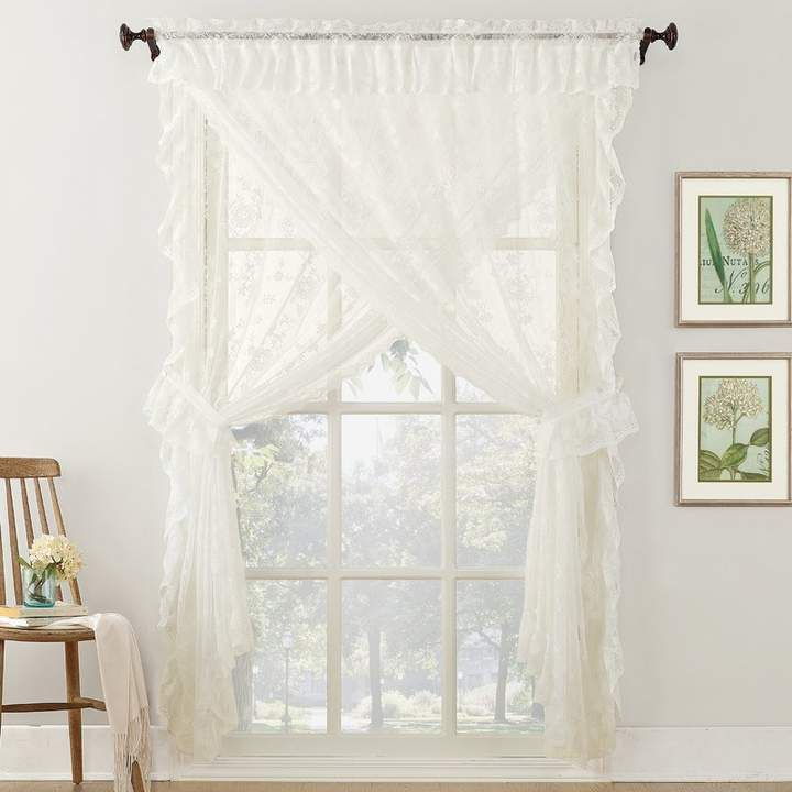 Featured Image of Elegant White Priscilla Lace Kitchen Curtain Pieces