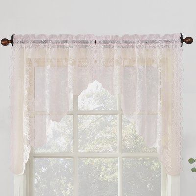 House Of Hampton Alejo Kitchen Curtain | Products | Kitchen Inside Floral Lace Rod Pocket Kitchen Curtain Valance And Tiers Sets (View 5 of 25)