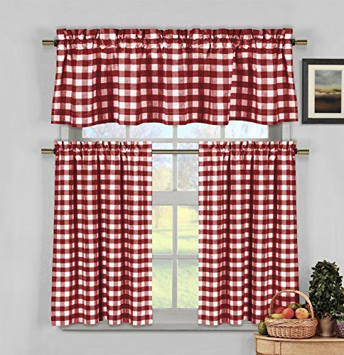 Featured Image of Burgundy Cotton Blend Classic Checkered Decorative Window Curtains