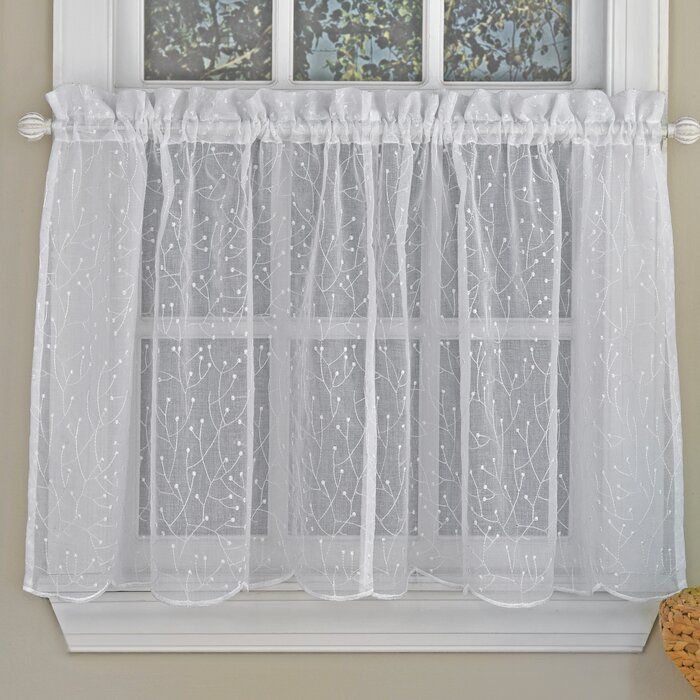 """Howarth Floral Spray Semi Sheer Kitchen 55"""" Window Valance Intended For Floral Embroidered Sheer Kitchen Curtain Tiers, Swags And Valances (View 12 of 25)"""