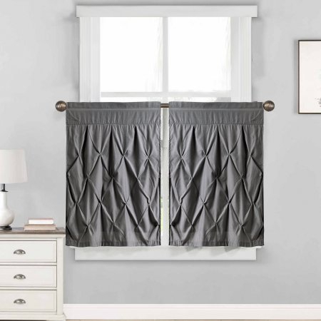 Hudson Pintuck Kitchen Window Curtain Tier Pair 24 Inchx30 Within Vertical Ruffled Waterfall Valances And Curtain Tiers (Image 9 of 25)
