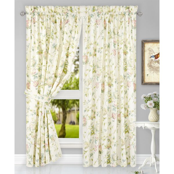 Hydrangea Curtains | Wayfair Intended For Floral Watercolor Semi Sheer Rod Pocket Kitchen Curtain Valance And Tiers Sets (View 8 of 25)