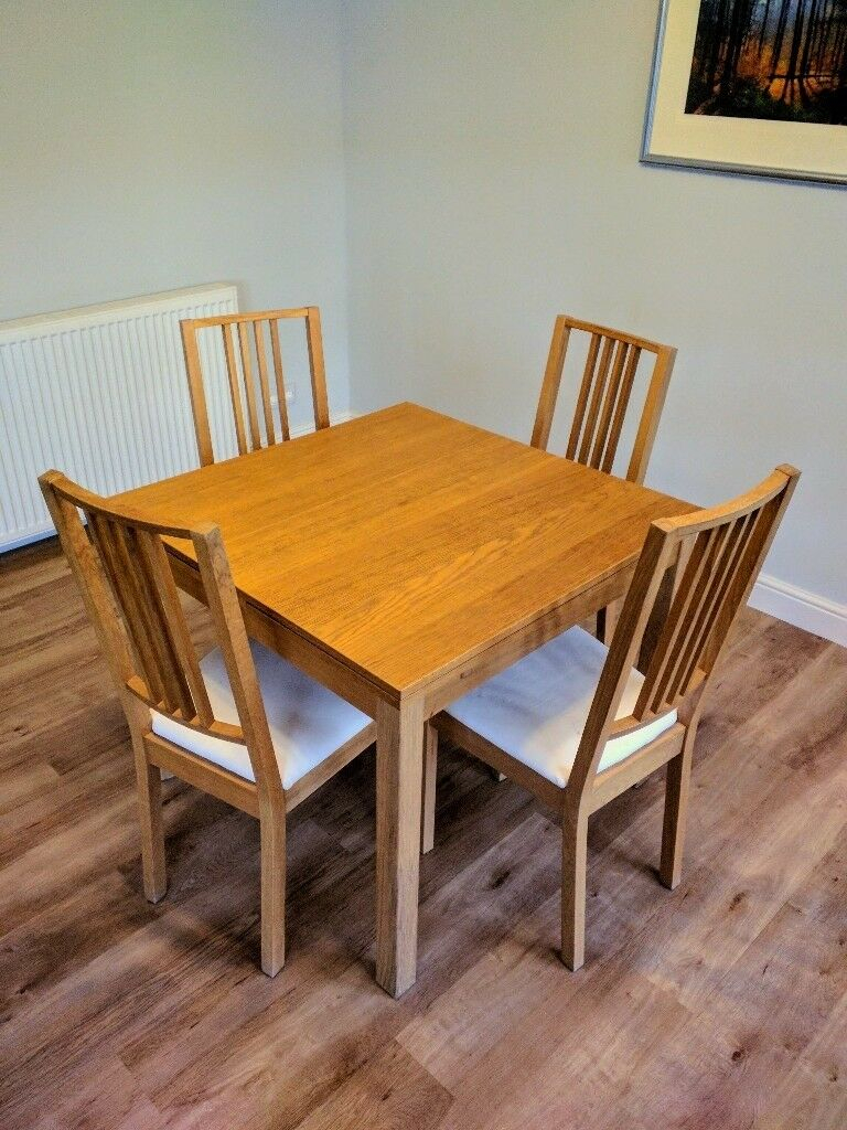 Ikea Bjursta Extendable Dining Table With 4 Chairs | In Livingston, West Lothian | Gumtree Pertaining To Current Gray Wash Livingston Extending Dining Tables (View 12 of 25)