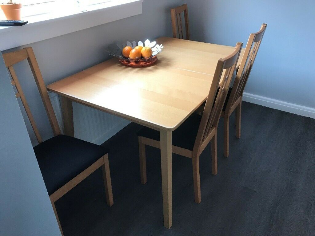 Ikea Extendable Table, 4 Chairs And Cabinet | In Livingston, West Lothian | Gumtree Pertaining To Latest Brown Wash Livingston Extending Dining Tables (View 10 of 25)