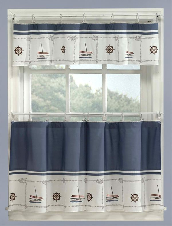 Image Detail For  Blue Nautical Curtains Valance + Tiers Set Intended For Coastal Tier And Valance Window Curtain Sets (Image 11 of 25)