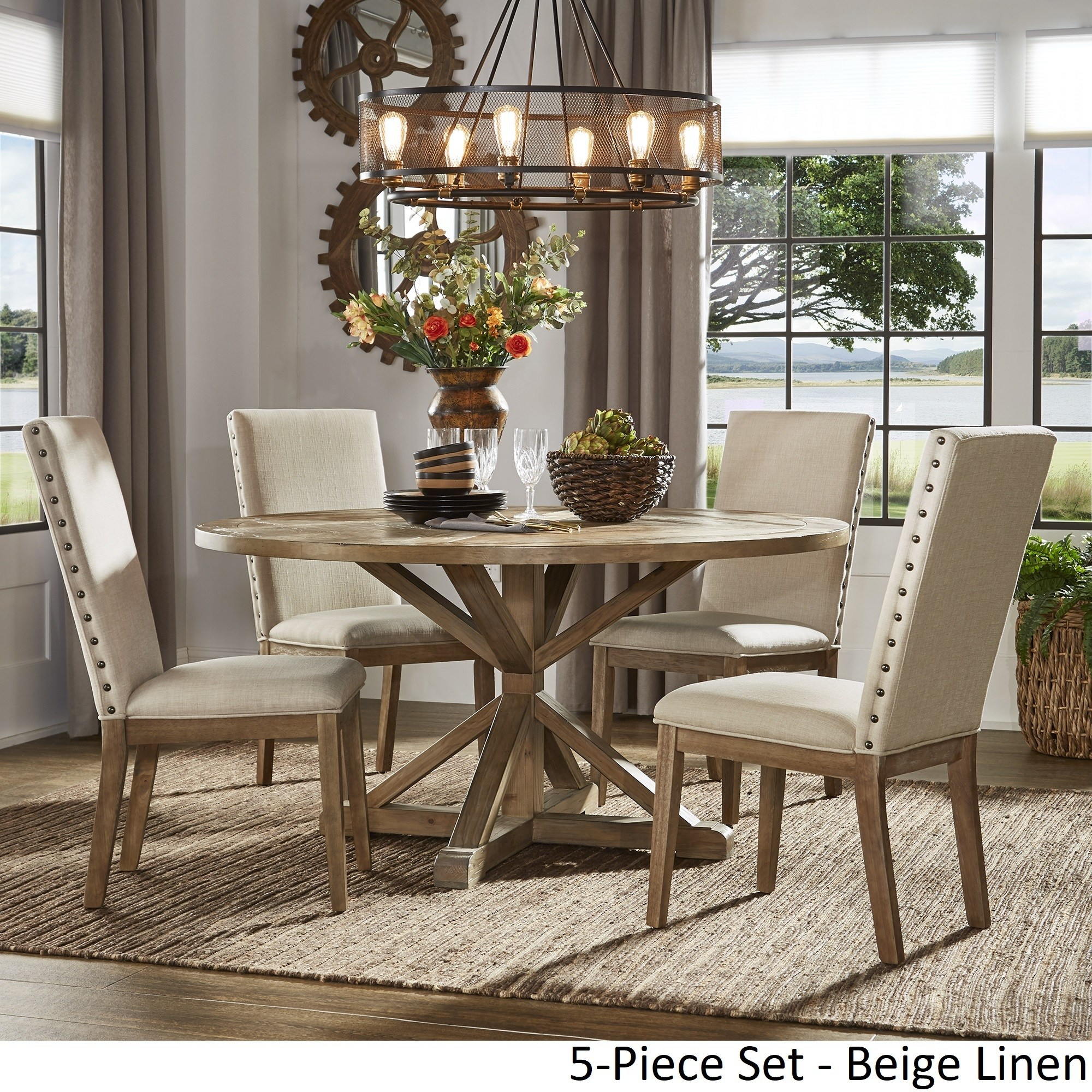 Inspire Q Benchwright Rustic X Base Round Pine Wood Dining In Most Current Gray Wash Benchwright Dining Tables (View 21 of 25)