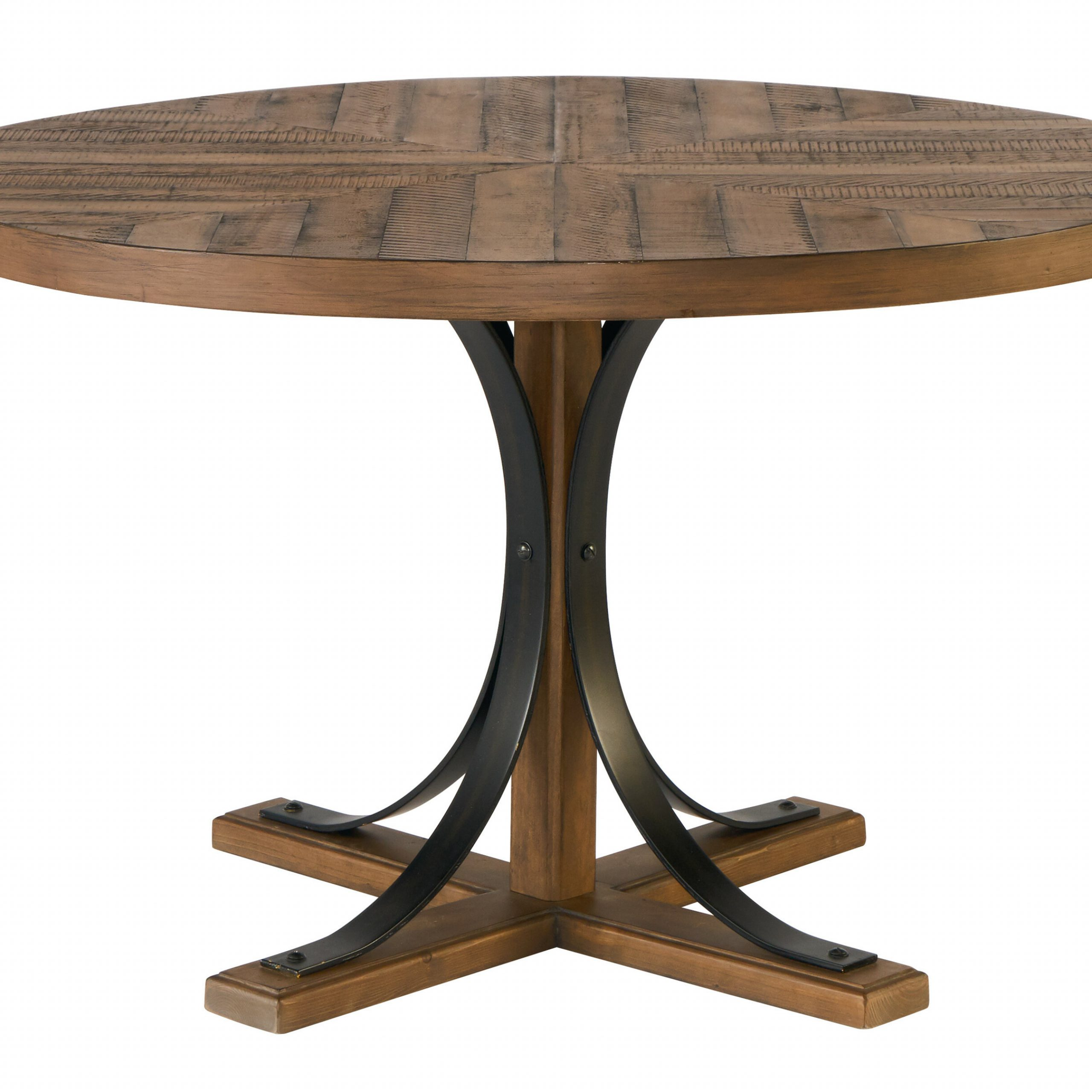 Iron Trestle Solid Wood Dining Table Pertaining To Most Up To Date Hart Reclaimed Extending Dining Tables (Image 16 of 25)