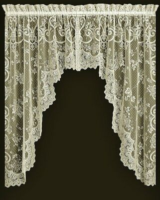 Ivory Lace Valance Or Swag Pair English Ivy Window Livingroom Bedroom | Ebay Throughout Traditional Tailored Tier And Swag Window Curtains Sets With Ornate Flower Garden Print (View 11 of 25)