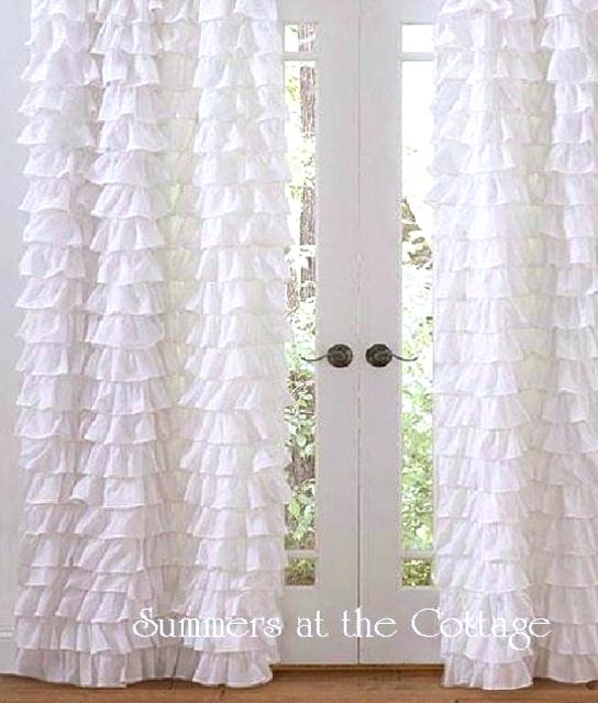 Ivory Ruffle Curtains The Coco Tier Window Curtain Panel Set Within White Ruffled Sheer Petticoat Tier Pairs (View 22 of 25)