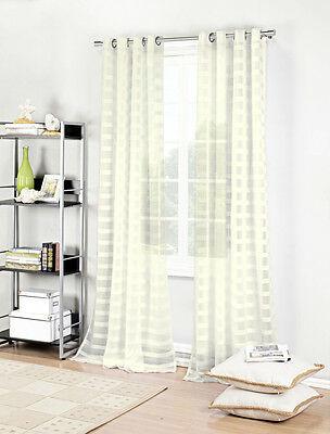 Ivory Single (1) Textured Semi Sheer Grommet Window Curtain Panel: Stripe Design 7357359153813 | Ebay With Micro Striped Semi Sheer Window Curtain Pieces (View 14 of 25)