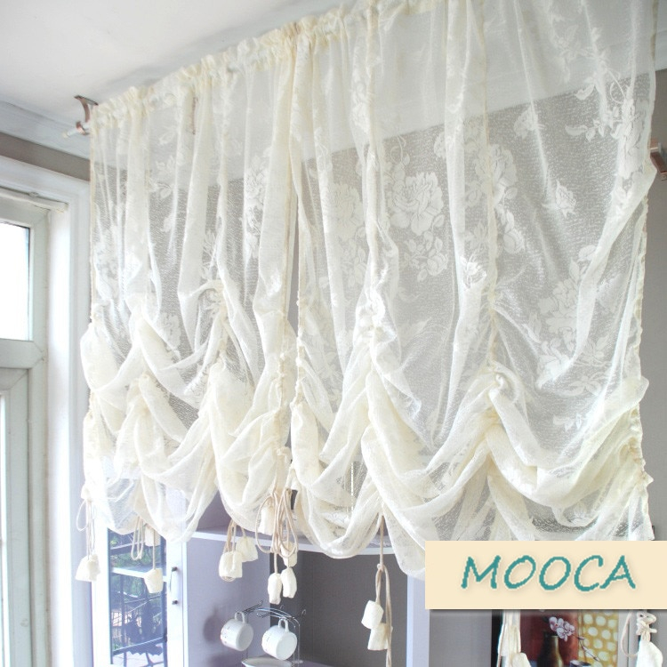Ivory White Ruffled Lace Curtain Pull Up Decoration Curtain Throughout Cotton Blend Classic Checkered Decorative Window Curtains (View 22 of 25)