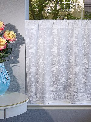Ivy Lace ~ Country Cottage Sheer White Curtain Panel   Other For Cottage Ivy Curtain Tiers (View 10 of 25)