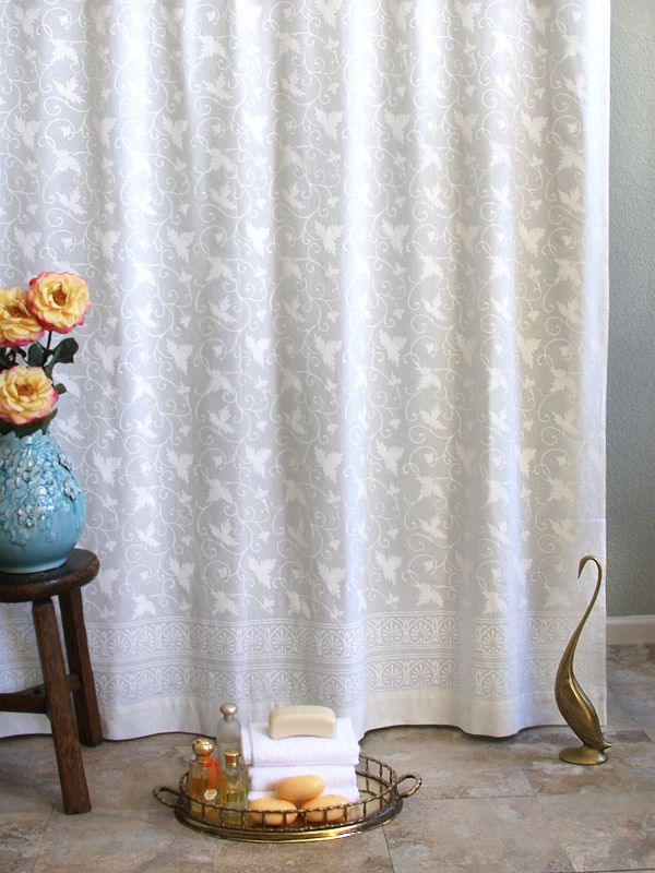 Ivy Lace ~ White On White Vintage Country Cottage Shower Intended For Cottage Ivy Curtain Tiers (View 18 of 25)
