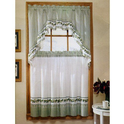"""Ivy Print 36"""" Swag Kitchen Curtain Setunitedunited Pertaining To Cotton Blend Ivy Floral Tier Curtain And Swag Sets (View 3 of 25)"""