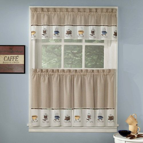 Featured Image of Coffee Embroidered Kitchen Curtain Tier Sets