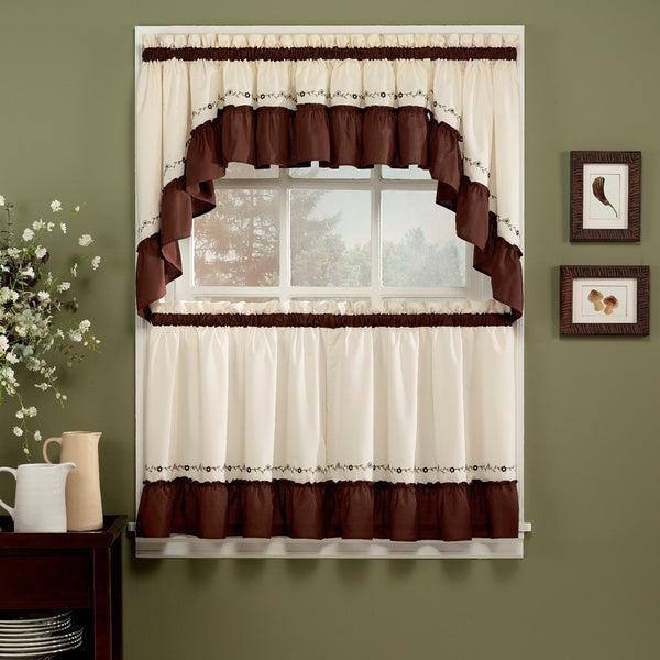 Jayden Chocolate 5 Piece Curtain Tier And Swag Set In Grace Cinnabar 5 Piece Curtain Tier And Swag Sets (View 2 of 25)