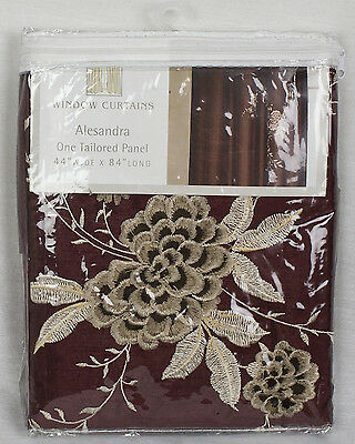 """Jcp Alesandra Embroidered Rod Pocket Curtain Panel – Cinnabar Red – 44"""" X 84"""" 