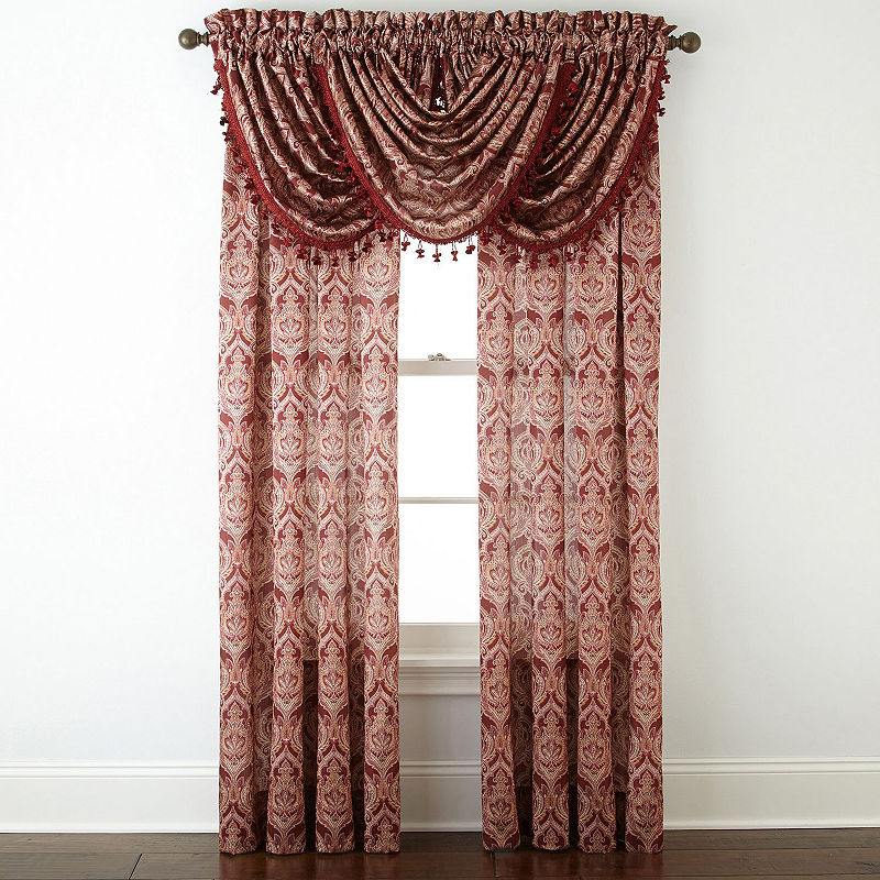 Jcpenney Home Hilton Damask Light Filtering Rod Pocket For Luxury Light Filtering Straight Curtain Valances (Image 8 of 25)