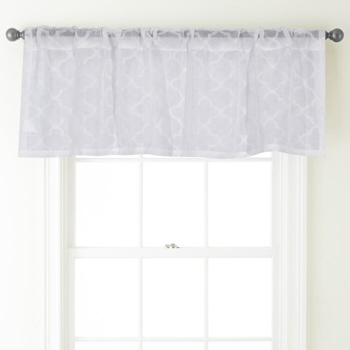 "Jess 54"" Curtain Window Valance Pertaining To White Tone On Tone Raised Microcheck Semisheer Window Curtain Pieces (Image 12 of 25)"