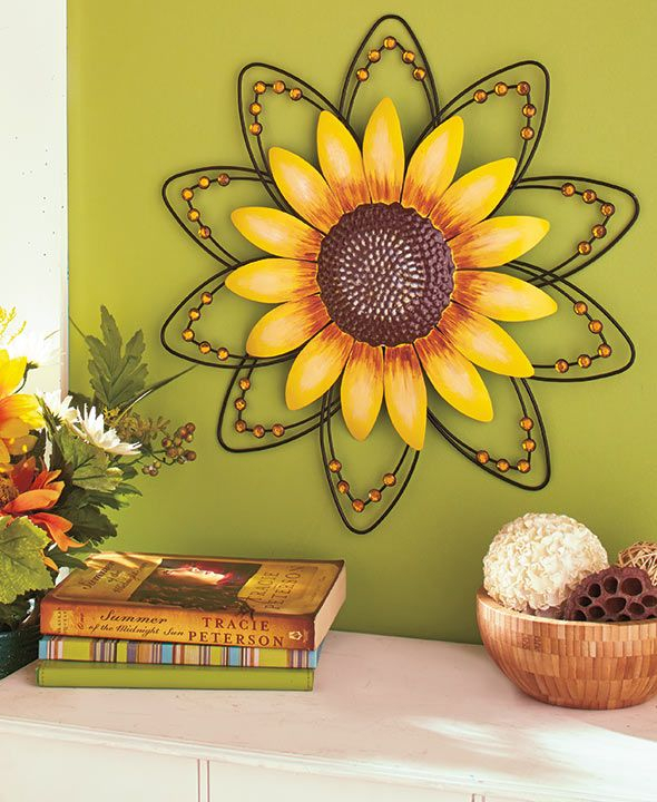 Jeweled Flower Wall Art   Sunflower Home Decor, Sunflower Throughout Floral Blossom Ink Painting Thermal Room Darkening Kitchen Tier Pairs (View 11 of 25)