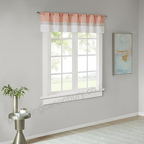 Jla Home Inc Amherst Polyoni Pintuck Window Valance Coral 50 Within Pintuck Kitchen Window Tiers (View 17 of 25)