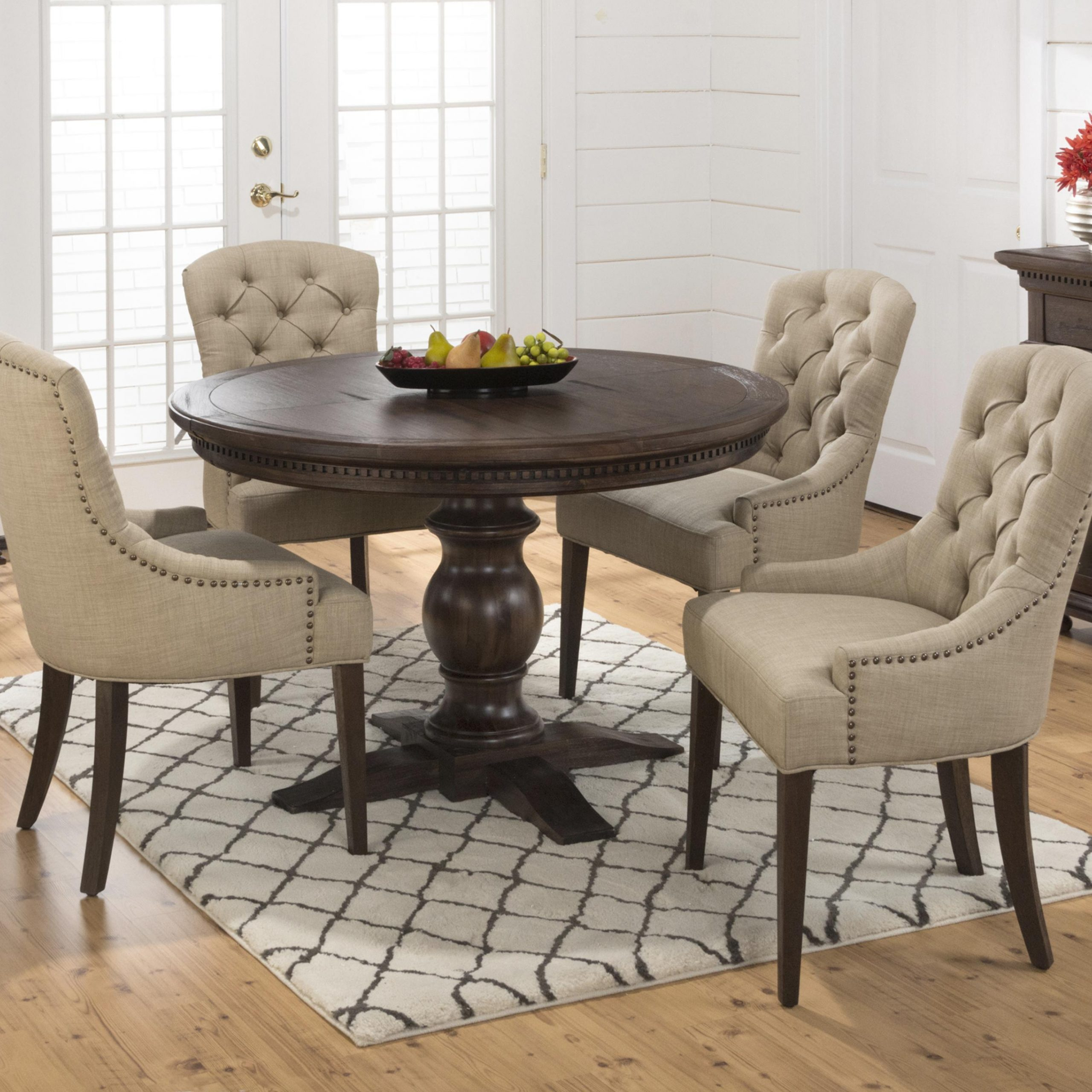 Jofran Geneva Hills Table And Upholstered Chair Set | Home With 2018 Linden Round Pedestal Dining Tables (View 6 of 25)