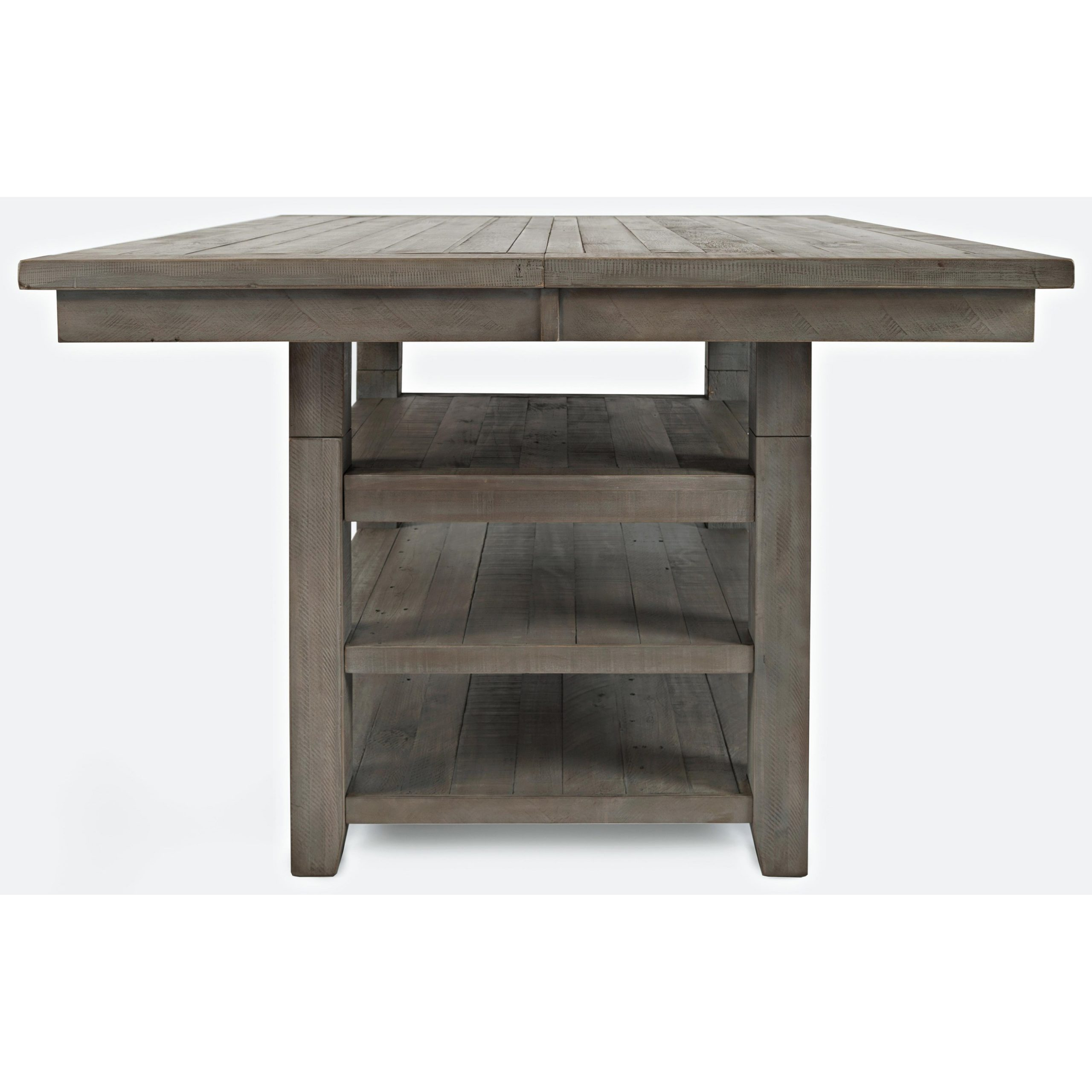 Jofran Outer Banks Hi/low Square Storage Dining Table Regarding Most Current Gray Wash Banks Pedestal Extending Dining Tables (View 16 of 25)