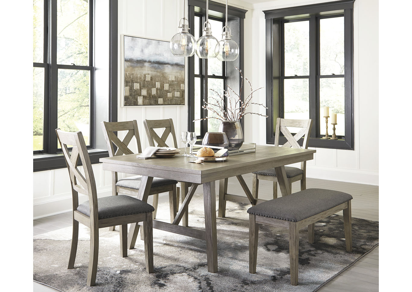 Johnson's Furniture Aldwin Gray Dining Table W/4 Side Chairs Throughout Most Recent Johnson Round Pedestal Dining Tables (View 16 of 25)