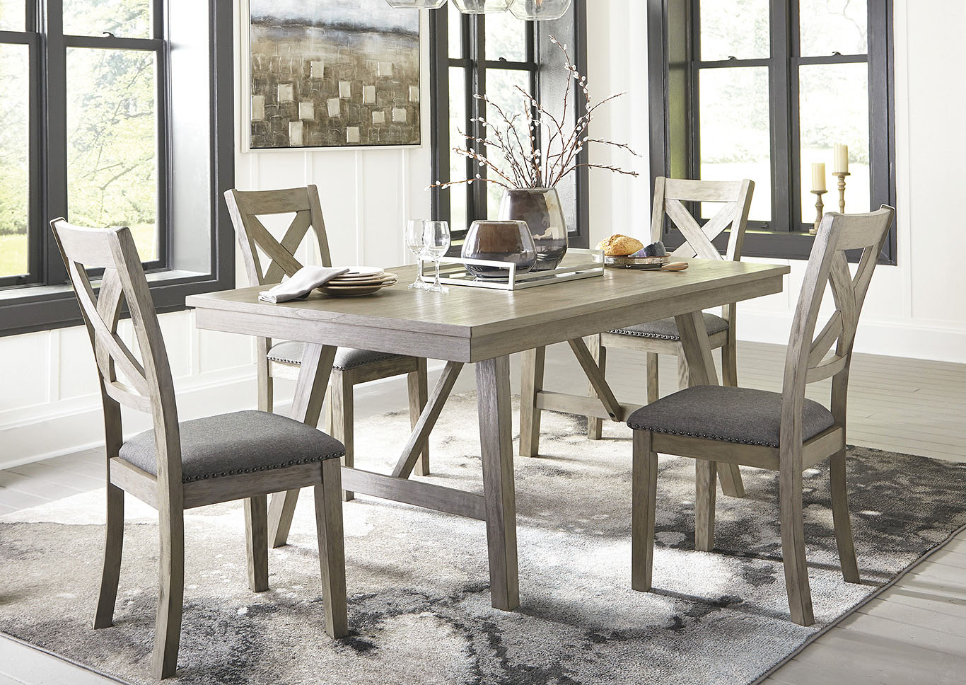 Johnson's Furniture Aldwin Gray Dining Table W/4 Side Chairs With Most Recent Johnson Round Pedestal Dining Tables (View 14 of 25)