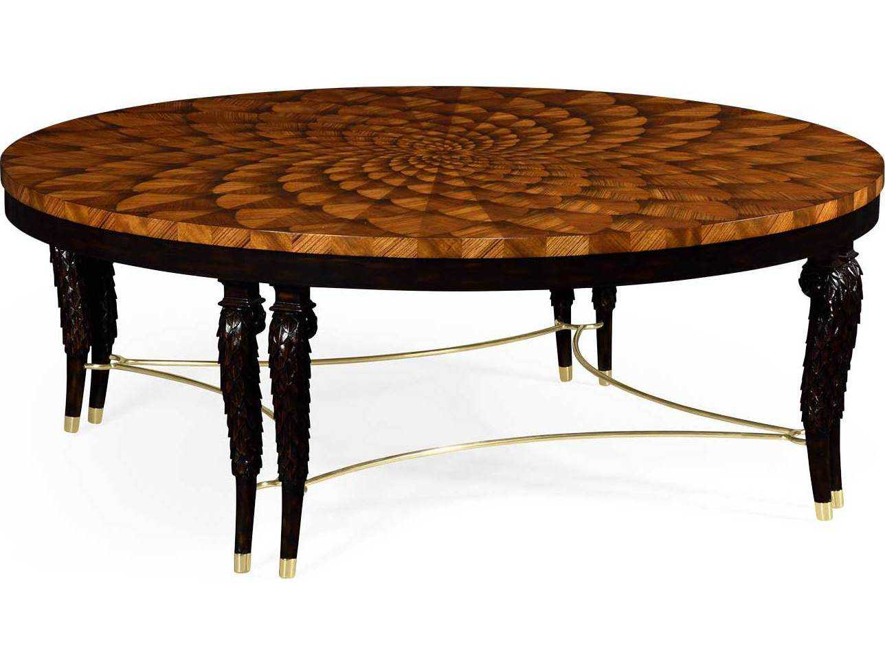 Jonathan Charles Icarus Medium Zebrano Feather Inlay Hand Carved Coffee Table With Brass Stretcher Throughout 2018 Icarus Round Bar Tables (View 13 of 25)