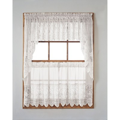 """Joy Classic Lace Kitchen Curtain Tier Pair White (30""""x24 Pertaining To Classic Kitchen Curtain Sets (View 4 of 25)"""