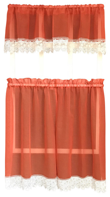 Julia Rustic Kitchen Curtains, Burnt Orange, Sheer With Macrame Lace Pertaining To Sheer Lace Elongated Kitchen Curtain Tier Pairs (View 4 of 25)