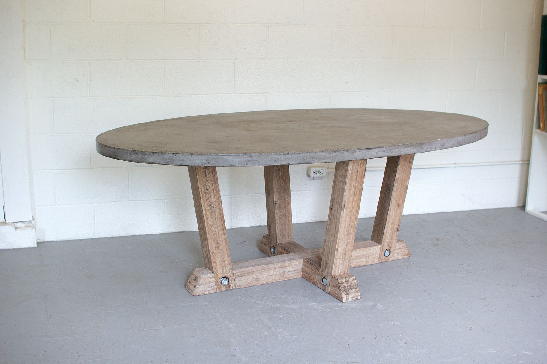 Kalalou Concrete Oval Dining Table With Wooden Base In 2019 For Most Recently Released James Adjustables Height Extending Dining Tables (Image 13 of 25)