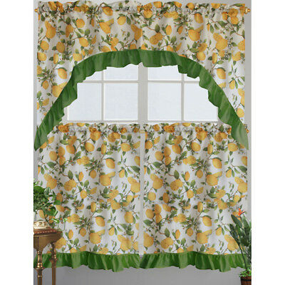 Kashi Home Cece Kitchen Curtain Swag Set, Lemon Printed Design 815634062917 | Ebay With Lemon Drop Tier And Valance Window Curtain Sets (View 19 of 25)