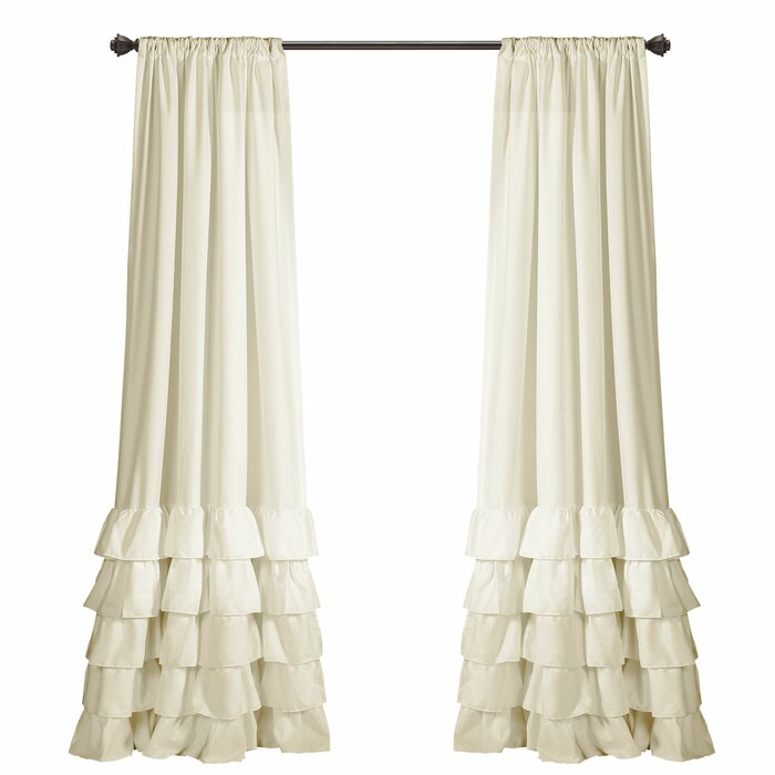 Keeley Ruffle Solid Semi Sheer Rod Pocket Curtain Panels In Rod Pocket Cotton Solid Color Ruched Ruffle Kitchen Curtains (View 6 of 25)