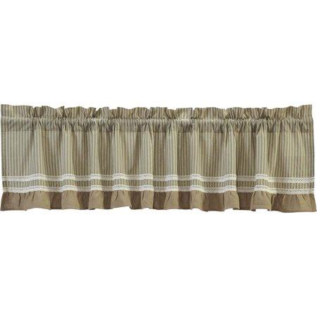 Featured Image of Rod Pocket Cotton Striped Lace Cotton Burlap Kitchen Curtains