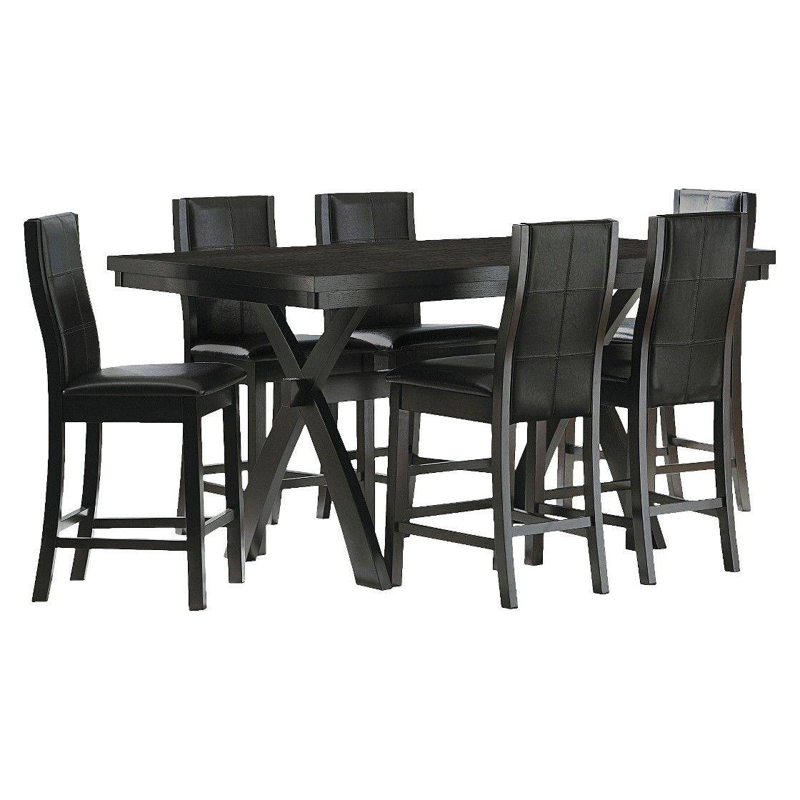 Kilmer 7 Piece Counter Height Dining Set – Black | Counter For Best And Newest Cleary Oval Dining Pedestal Tables (View 23 of 25)