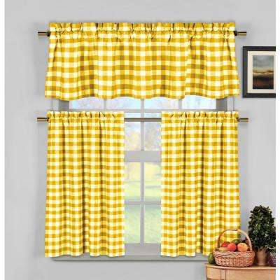 Kingston Kitchen Valance In Tiers/yellow – 15 In. W X 58 In (View 8 of 25)